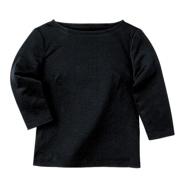 七分袖ボードネックT(天竺)WP354-8(L)(ブラック) 1