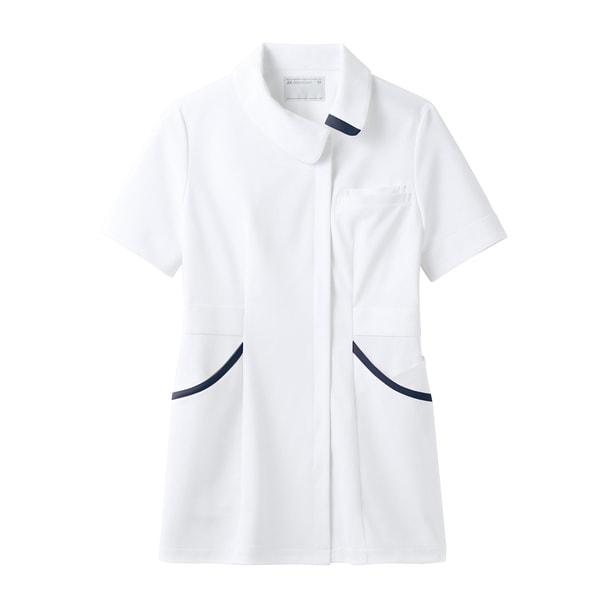 ENHナースジャケット(半袖)73-1828(L)(白/ネイビー) 1