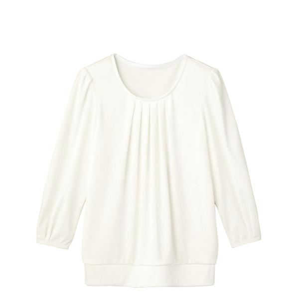 七分袖タックブラウスTWP369-7(M)(ホワイト) 1