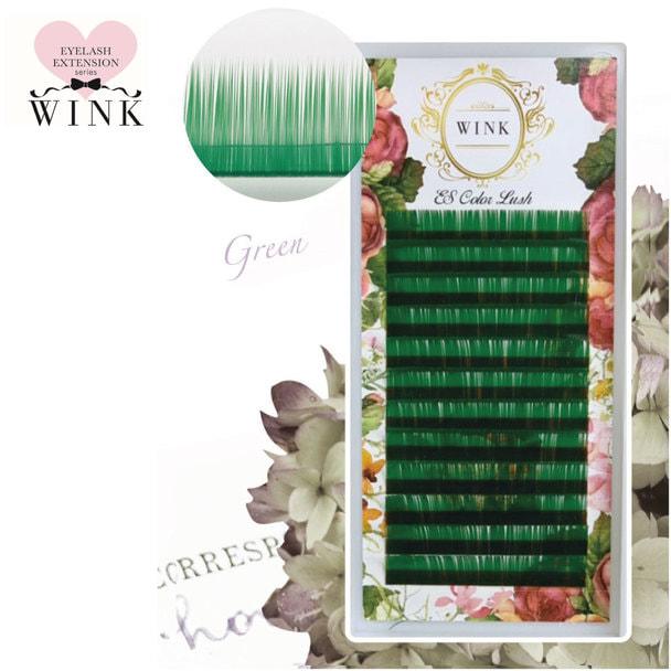 【WINK】グリーン[Jカール 太さ0.15 長さ10mm]
