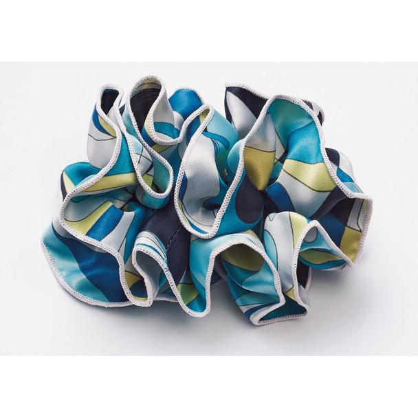 スカーフ+リングコサージュ8084-2(ブルー) 1