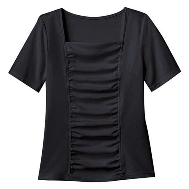 半袖ギャザーT(シアロンシルキースムース)WP318-8(L)(ブラック) 1