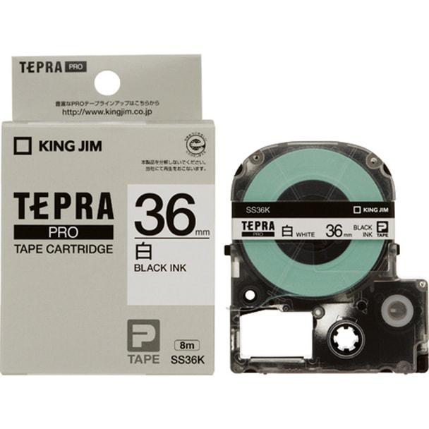 テプラPROカートリッジ白ラベル 36mm幅(黒文字SS36K)