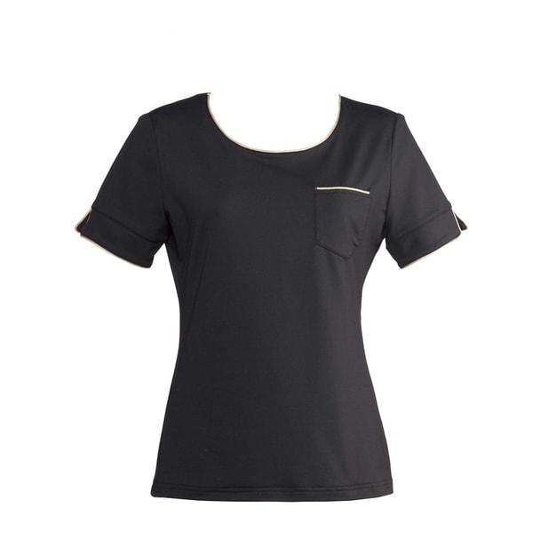 ラウンドTシャツS-41Y(L)(ブラック×ベージュ) 1