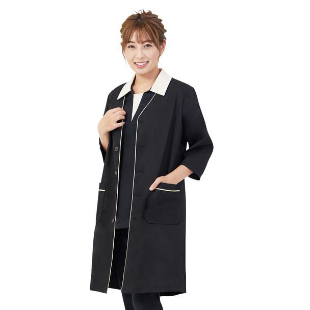 リン デ リン パイピング白衣(S)(ブラック×ゴールド) 1