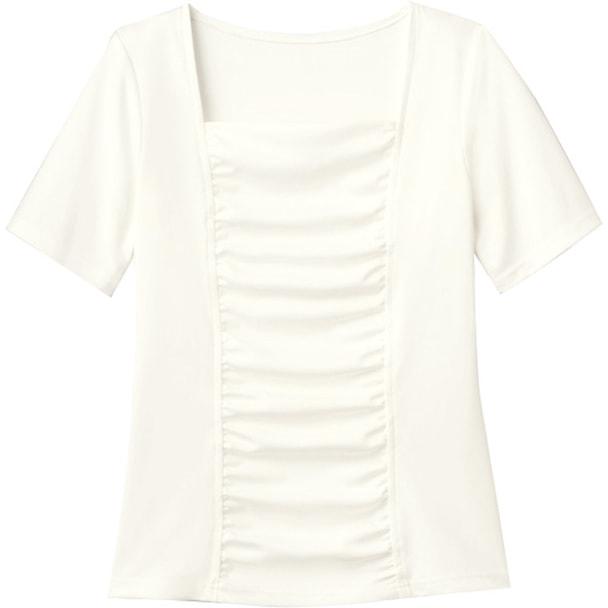 半袖ギャザーT(シアロンシルキースムース)WP318-7(L)(ホワイト) 1