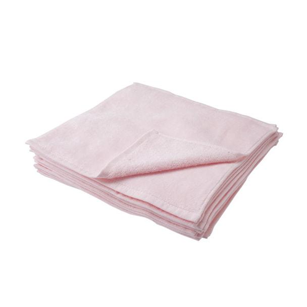 ハンドタオル(シャーリング加工)25×25cm 12枚入り(ピンク) 1