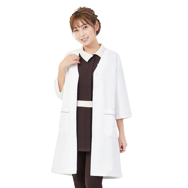 リン デ リン パイピング白衣(LL)(ホワイト×グレー) 1