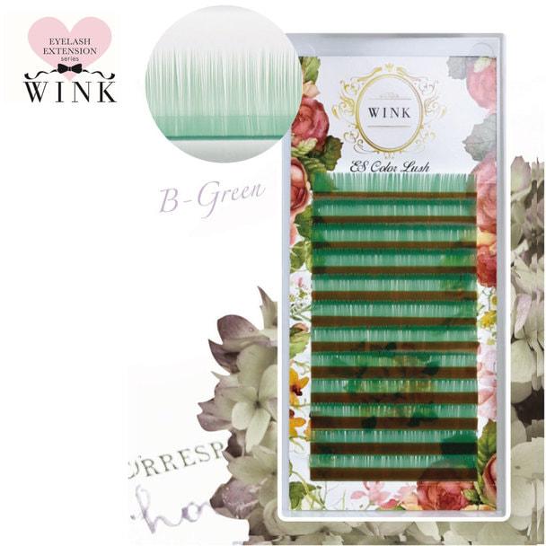 【WINK】Bグリーン[Jカール 太さ0.15 長さ7mm]